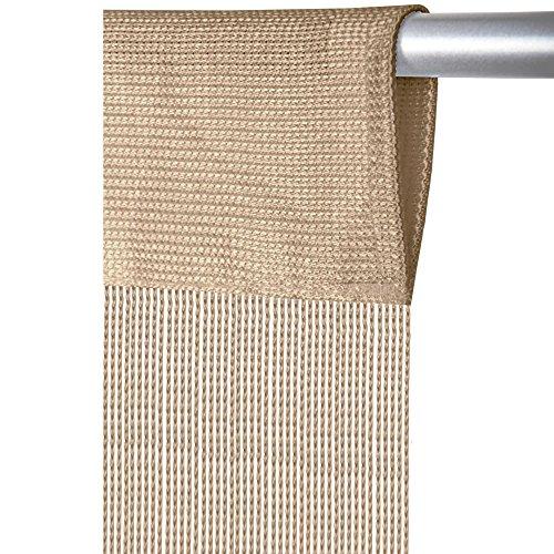 Arsvita Fadenvorhang mit Stangendurchzug, individuell kürzbare Gardine, moderner und eleganter Dekorationsartikel in vielen Farben und Ausführungen (B90xL250 cm/beige - Creme)