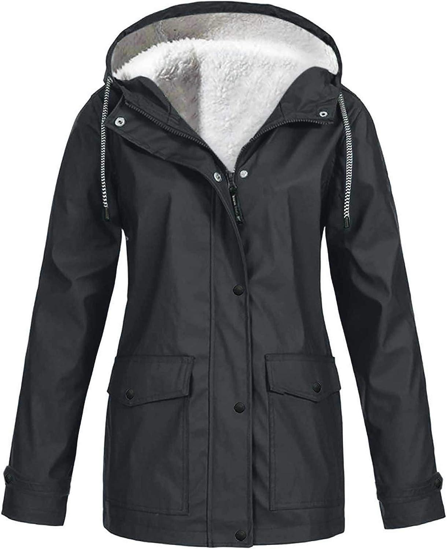 WUAI-Women Waterproof Ski Jacket Fleece Lined Winter Parka Windproof Snow Coat Water Resistant Raincoat Plus Size