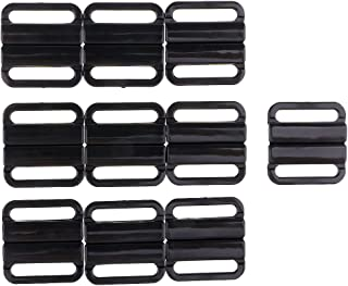 Dolity 10 Sets Plastic Closure Waist Extender Sewing Clasps Hooks for Women's Bra Swimsuit - Black