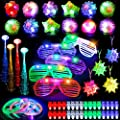 Mibote 67Pcs Led Light Up Toys Party Favors Glow in the Dark Party Supplies for Kid/Adults with 40 Finger Lights, 10 Jelly Rings, 5 Flashing Glasses, 4 Bracelets, 4 Fiber Optic Hair Lights and 4 Crystal Necklaces from MIBOTE