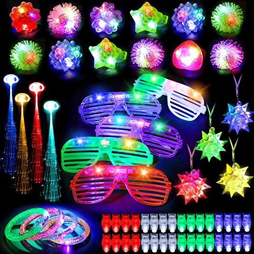 Mibote 70Pcs Led Light Up Toys Party Favors Glow in the Dark Party Supplies for Kid/Adults with 40 Finger Lights, 10 Jelly Rings, 5 Flashing Glasses, 4 Bracelets, 4 Fiber Optic Hair Lights and 4 Crystal Necklaces