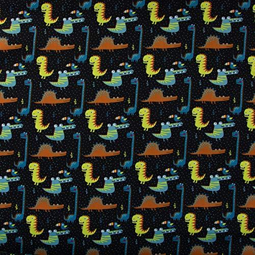 Mooi leven. Katoenen stof krokodil dinosaurus vogel met bonte snabel zwart bont 1,45 m breedte