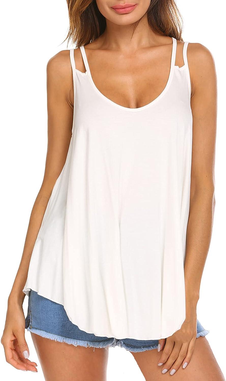 Halife Women's Spaghetti Strap Tank Top Flowy Sexy V Neck Summer Sleeveless Shirt Blouse