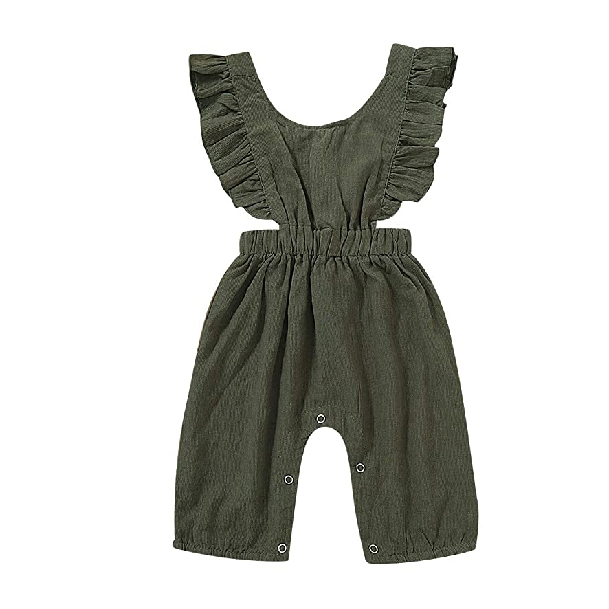 YOUNGER TREE Newborn Baby Girls Summer Outfits Ruffled Sleeves Blackless Romper for 0-24 Months OneSize