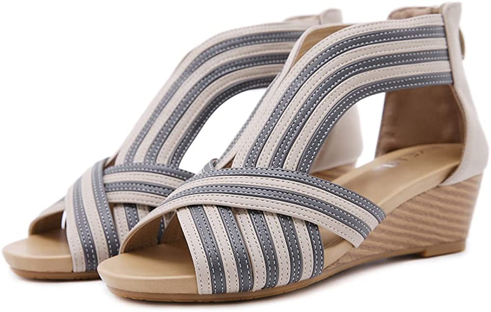 ZAPZEAL Wedge Sandals for Women Platform Flip Flops Splicing Dress Sandal Fish Mouth High Heels Shoes Handmade Slip On Sandals Singback Heeled Sandal Shoes, Size 6-10 US