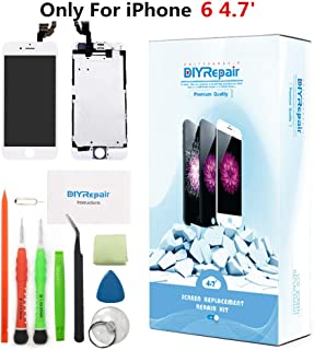 Premium Screen Replacement for iPhone 6 4.7' LCD Touch Digitizer Complete Display Glass Assembly with Earpiece, Front Camera, Proximity Sensor, Tempered Glass, Repair Tools, Easy Instruction(White)