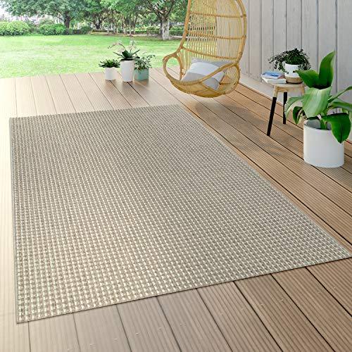 Paco Home Tapis Intérieur & Extérieur Tissage À Plat Aspect Sisal Look Naturel Uni Crème, Dimension:120x170 cm