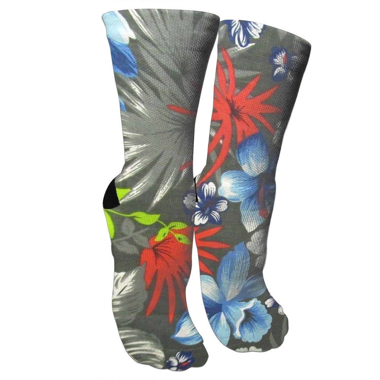 靴下 抗菌防臭 ソックス ハワイアンブラックアスレチックスポーツソックス、旅行&フライトソックス、塗装アートファニーソックス30 cmロング靴下