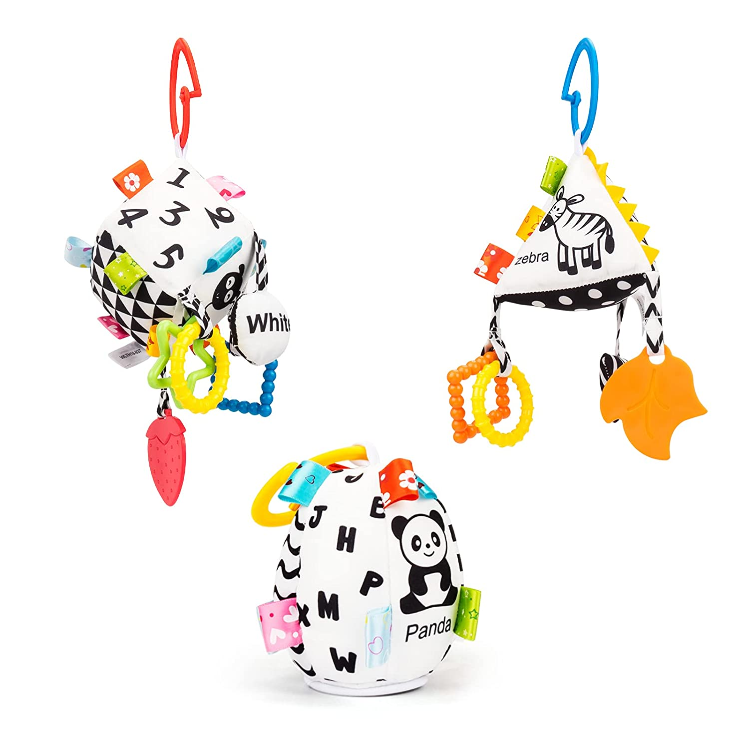 Jollybaby Baby Soft Hanging Toy- Baby Toys for 0 3 6 9 to 18 Animal Ring Cube Wind Chimes Stroller Infant Car Bed Crib Travel Activity Hanging Wind Chime for Boys Girls (High Contracts Toys Set)