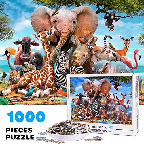 Vimzone 1000 Pezzi Jigsaw Puzzle, Puzzle da Pavimento con Stampa ad Alta Definizione per Adulti Cresciuti, Giochi Educativi Ideali per Rilassamento, Meditazione, Hobby (Mondo Animale)