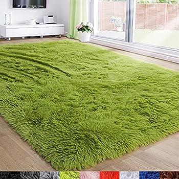 Grass Green Area Rug for Bedroom,4 X6 ,Fluffy Shag Rug for Living Room,Furry Carpet for Kids Room,Shaggy Throw Rug for Nursery Room,Fuzzy Plush Rug,Green Carpet,Rectangle,Cute Room Decor for Baby
