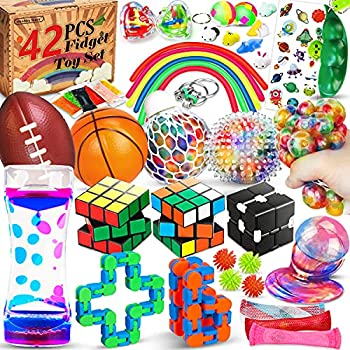 Hhobby Stars 42 Pcs Sensory Fidget Toys Pack Stress Relief & Anxiety Relief Tools Bundle Figetget Toys Set for Kids Adults Autistic ADHD Toys Stress Balls Infinity Cube Marble Mesh Fidgets Box