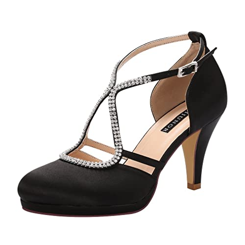 79b758af54d ERIJUNOR Women Comfort Low Heel Closed-Toe Ankle Strap Platform Satin  Bridal Wedding Shoes