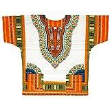 フェスやイベント・ダンスコスチュームに 明るくて爽やかなホワイトベースダシキ アフリカの民族衣装ダシキ HIP-HOPシーンを中心に海外アーティストに 超絶ゆったり 衣装 アフリカンエスニック メンズ ユニセックス レディース (オレンジブルー)