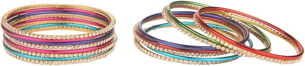 Efulgenz Fashion Jewelry Indian Bollywood Gold Plated Multicolor Simple Plain Crystal Bracelet Bangle Set (16 Pcs)