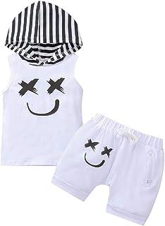Longfei Conjunto de pantalones cortos sin mangas con estampado sonriente, sudadera con capucha y pantalones cortos elástic...