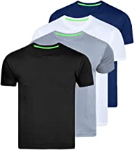 AWG Men's Dryfit Polyester Round Neck Half Sleeve T-Shirts - Value Pack of 4