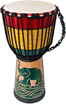 lotmusic Djembe African Drum Bongo Congo Stardard Size Mahogany Goatskin Drumhead professional (10'', Green)