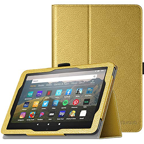 TiMOVO Folio Case for All-New Kindle Fire HD 8 Tablet (10th Generation, 2020 Release) and Fire HD 8 Plus Tablet, Slim Folding PU Leather Stand Cover Case with Auto Wake/Sleep - Gold