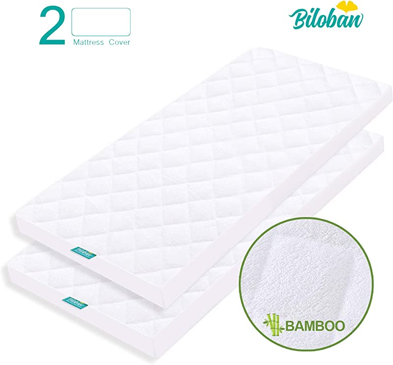 Bassinet Mattress Pad Cover Waterproof Fits For All Mainstream Bassinet Mattress Rectangle Hourglass Oval 2 Pack Ultra Soft Bamboo Fleece Surface Washer Dryer