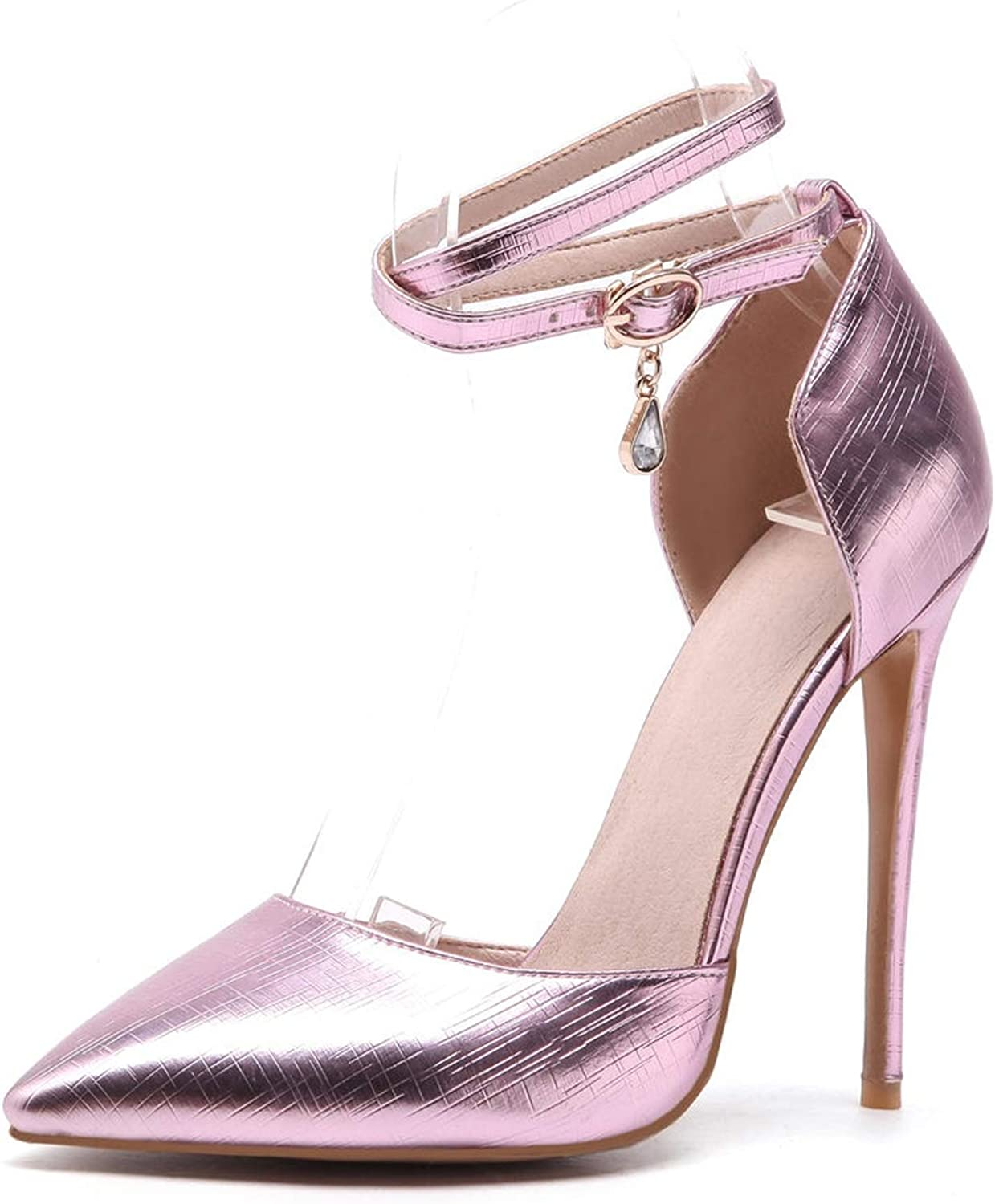 Surprise-Show Pumps Sexy Ankle Straps 12 cm Thin High Heels Sandals gold Silver Office Wedding shoes