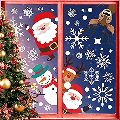 Tacroney 166Pc Christmas Window Clings Santa Claus Snowflakes Window Decals Static Window Stickers Holiday Season Christmas Decorations Snowman Window Décor Xmas Party Supplies Holiday Party Décor