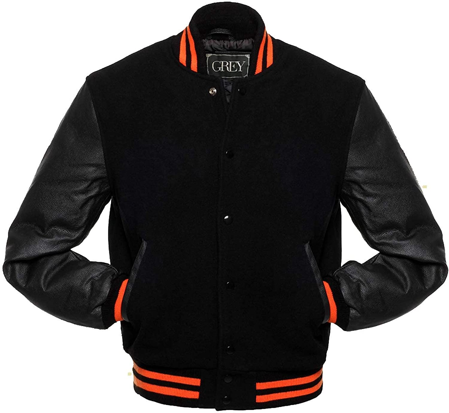 GREY Brand Varsity Jacket, Wool Body with Leather Arms Letterman Baseball Unique & Stylish (4XL)