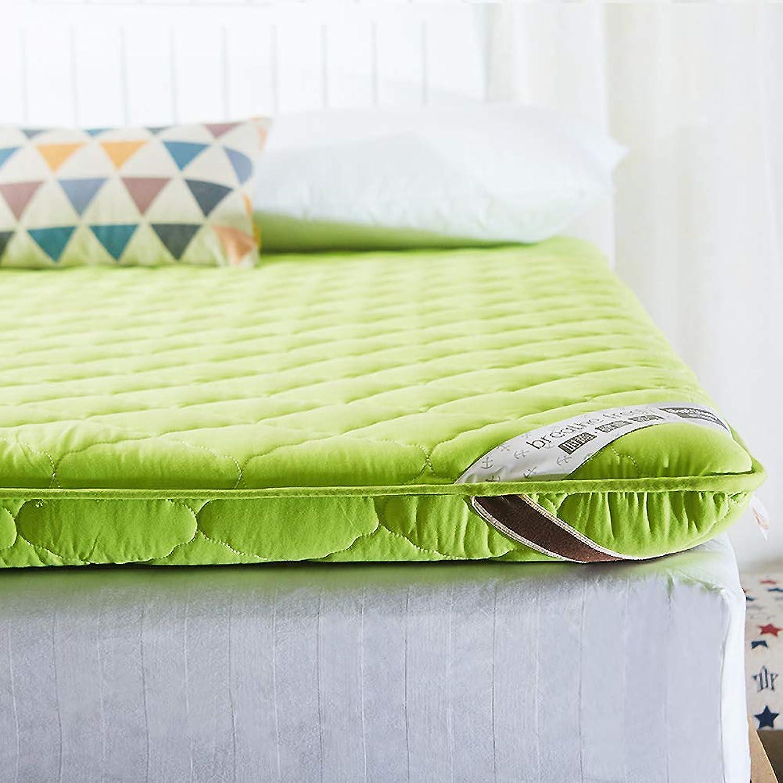 Thickened Ultra Soft Mattress Pad, Hypoallergenic Sponge Mattress Tatami Mattress Portable Folding Mattress for Bedroom Apartment-Green 90x200cm(35x79inch)