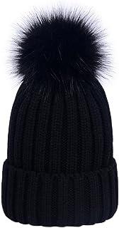 LAUSONS Gorros tejidos de invierno para mujer gorros de punto de canalé con pompón de piel sintética de quita y pon