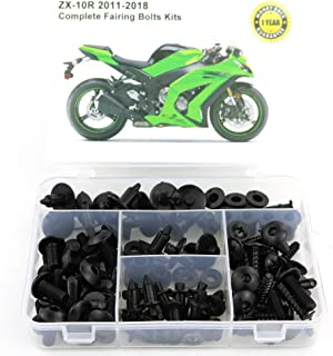 Xitomer Full Sets Fairing Bolts Kits, for KAWASAKI ZX-10R 2011 2012 2013 2014 2015 2016 2017 2018, Mounting Kits Washers/Nuts/Fastenings/Clips/Grommets (Matte Black)