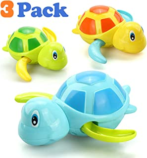 VCOSTORE Wind Up Bath Toys for Toddlers, Cute Swimming Turtle Baby Bathtub Floating Water Bathing Fun Toys Bathroom Toy Water Toy 3pcs for Kids.