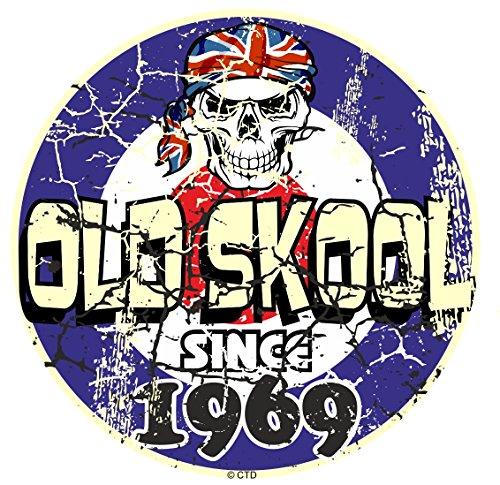 Effet vieilli vieilli vintage style old skool depuis 1969 Rétro Mod RAF Motif cible et crâne vinyle Sticker Autocollant Voiture ou scooter 80 x 80 mm