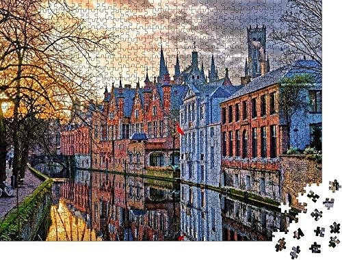 Clásico Puzzle Decoración Canales de rompecabezas de Brujas, Bélgica. Wooden Jigsaw Puzzles Classic Rompecabezas de Juguete-300 piezas