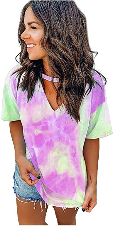 Camisetas Mujer Manga Corta Cuello en V Casual Tie-Dye Tops Verano Moda Camisa Blusa Basica Fiesta Camiseta Suelto T-Shirt Original tee