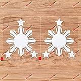 Eight-Ray Sun Stars Philippines Flag Filipino Vinyl Decal Sticker - 2 Pack White, 6 Inches - Die Cut No Background