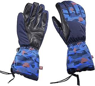HAOSHUAI Handschoenen voor mannen en vrouwen Winter Koud Warm Dubbele Snowboard Riding Quilting Touch Screen Schapenvacht Handschoenen Ridding handschoenen (Kleur : Blauw, Maat : M)