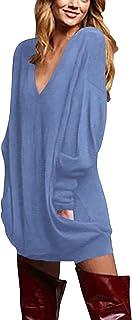 Jerseys de Punto Mujer Largos Cuello V Manga Larga Otoño Vestidos Sudadera Casual Tallas Grandes Suéter Suelta
