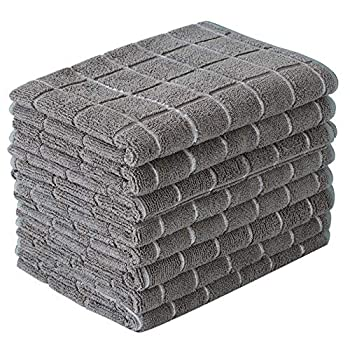 Microfiber Dish Towels - Soft Super Absorbent and Lint Free Kitchen Towels - 8 Pack  Lattice Designed Gray Colors  - 26 x 18 Inch
