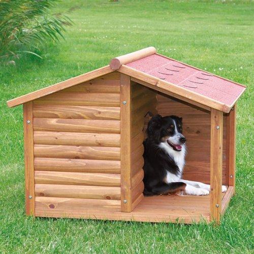 【ドイツTRIXIE】屋外用 犬小屋 TRIXIE ナチュラ ドッグケンネル サドルルーフ ブラウン S 屋外用 大型犬 木製 テラス付き 屋根オープン仕様