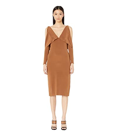 Cushnie Deep V Pencil Dress with Folded Drape and Open Sleeve (Cola Champagne) Women
