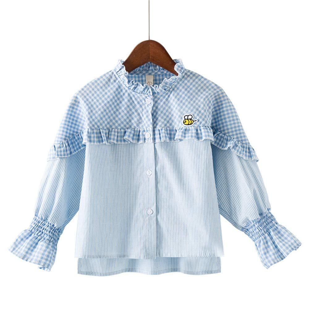 Weentop Camisa de Manga Larga a Cuadros de niña Cuello Redondo con Borde de Hongo Negro (Color : Azul, tamaño : 140): Amazon.es: Hogar
