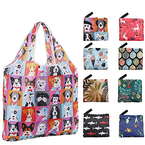 Reusable Grocery Bags, ONME Foldable 8 Pack Shopping Bags 50 LBS Large Volume Colorful Cute Fashionable Bags Ripstop Fabric Waterproof Machine Washable Eco-Friendly Bags with Pouch and Mini Lanyard
