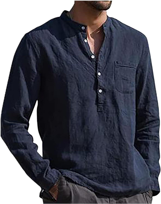 Men's Linen Beach Henley Shirt Summer Vintage Buttons Shirt Roll-up Long Sleeve Casual Plain Tee Tops Blouse