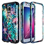 Lamcase for Samsung Galaxy J7 2018 Case (Not Fit J7 2017) J7 Aero/Top/Crown/Aura/Refine/Eon/Star/SM-J737 Case Shockproof Dual Layer PC & Silicone High Impact Bumper Protective Cover, Mandala/Galaxy