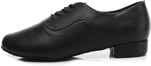 DKZSYIM Men's Leather Professional Latin Dance Shoes Ballroom Jazz Tango Waltz Performance Shoes