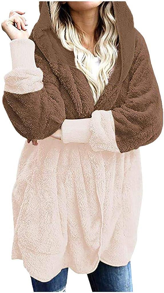 Holzkary Women's Coat Casual Fuzzy Faux Fur Zipper Warm Winter Oversized Hooded Outwear Jackets