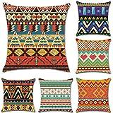 HuifengS - Fundas de cojín cuadradas de lino - decorativas, para sofás o camas - juego de 4 fundas de cojín de 45,7 x 45,7 cm