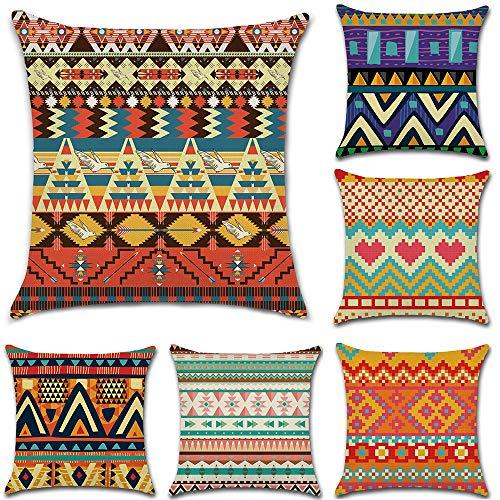 HuifengS Leinen-Kissenbezüge, quadratisch, afrikanischer Stil, ethnischer Stil, dekorativ für Sofas, Betten, Stühle, 45,7 x 45,7 cm