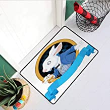 RelaxBear Alice in Wonderland Inlet Outdoor Door mat Rabbit Pocket Watch Design Amazing Alice Fantasy World Catch dust Snow and mud W15.7 x L23.6 Inch Blue White Earth Yellow