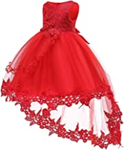 CAIYCAI 2019 Cute Flower Baby Girls Dress Baptism Dresses for Girls 1St Year Birthday Lace Trailing Party Christening